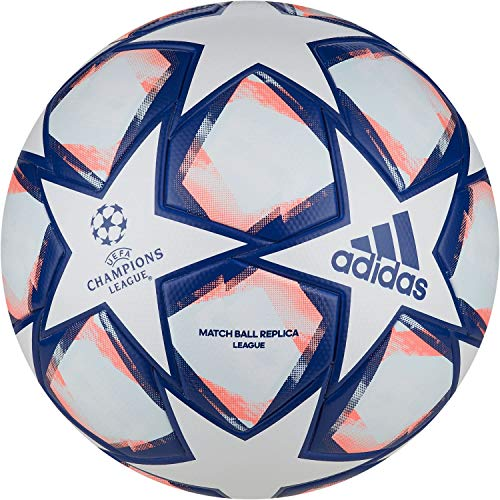 adidas Unisex UCL Finale 20 League Fußball, White/Royal Blue/Signal Coral/Sky Tint, 5