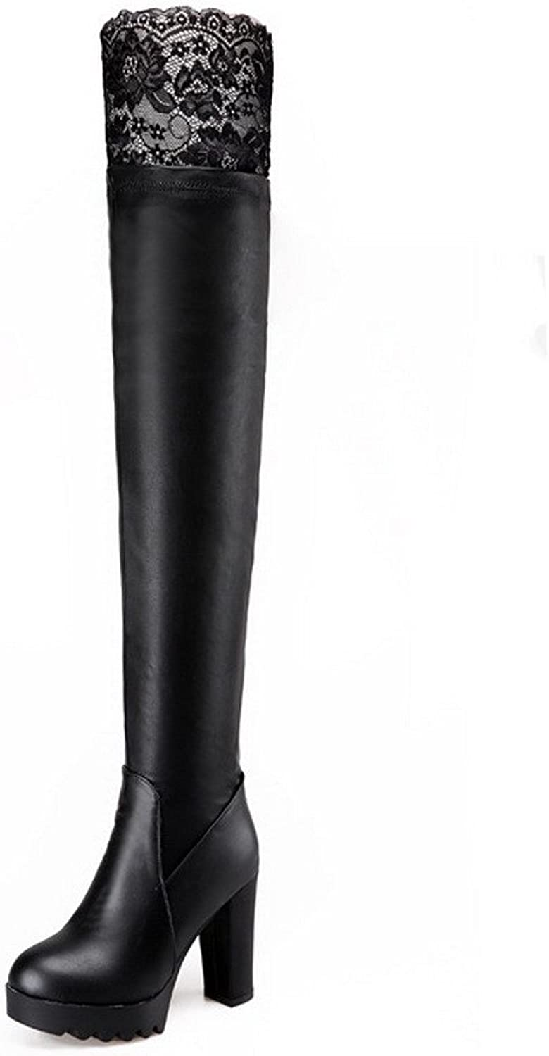 AmoonyFashion Women's PU Blend Materials Round Closed Toe Above-The-Knee High-Heels Boots