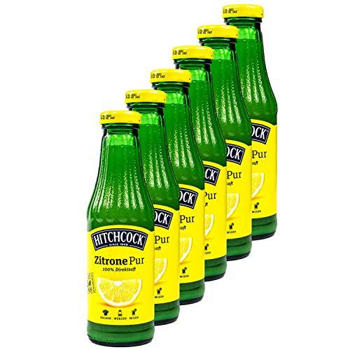 Hitchcock - 6er Pack Premium Zitronensaft Zitrone Pur 100% Direktsaft - Saft aus ca. 15 Zitronen in 0,5 Liter Glasflasche