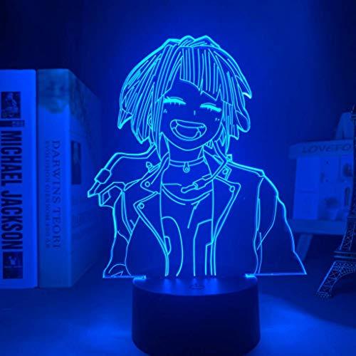 Lámpara 3D Anime Mi Héroe Academia Kyouka Jirou Lámpara para Dormitorio Decoración Regalo de Cumpleaños Kyouka Jirou Led Noche Luz