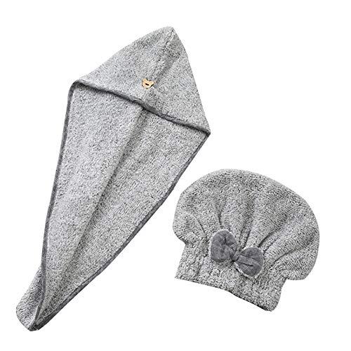 WFF sombrero Wrap de la toalla de pelo, 2 pack Bamboo Charcoal Fiber Secking Toalla turbante con botón, gorro de sombrero de pelo seco rápido para mujeres, tapa de baño ultra suave gorro de puntogorra