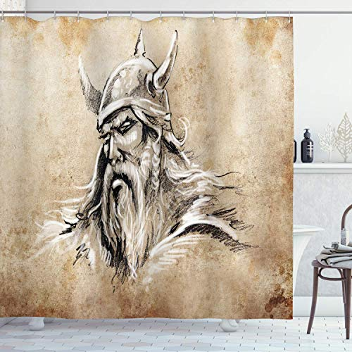 Cortina de Ducha vikinga Estilo de Dibujo Guerrero escandinavo con Barba Sombrero Retrato Masculino Tela de Tela de Tatuaje Decoración de baño con Ganchos Tan