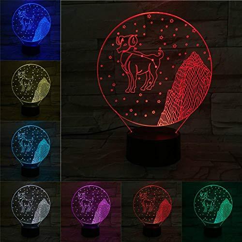 3D-sterrenbeeld Ram Nachtlampje voor kinderen, 7 Kleuren veranderen met afstandsbediening, Dimbare Kids kamer Decor Lamp Vakantie en Verjaardagscadeaus voor kinderen