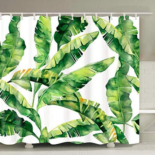LEELFD Grüne Topfpflanzen Duschvorhang für Badezimmer Wasserdichter Druck Kaktus Sukkulenten Badevorhang mit 12 Haken Schimmelschutz 150X180CM K.