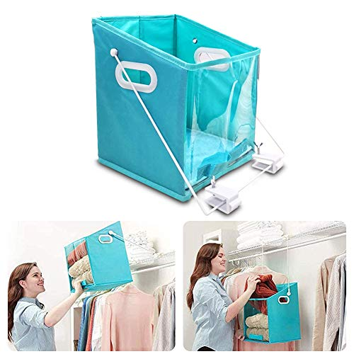 Foldable Closet Caddy Dirty Clothes Storage Organizer Case,Pull Down Foldable Storage Bin,Foldable Organizers with Clear Window Carry,Shelf Basket Rotatable Retrieve Items (3 Pcs-S)