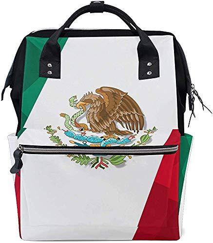 Daypacks Mexicaanse vlag design draagtassen print luier mummie rugzak luiertas baby waterdicht onderhoud stijlvolle moeder mummie tas papa grotere capaciteit Mutifun