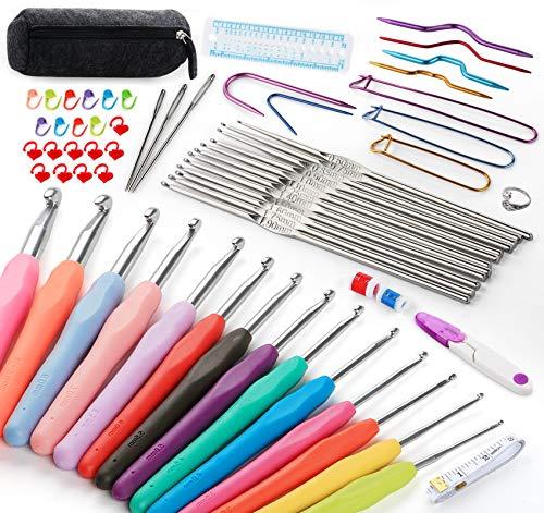 Lemonfilter 39 Pack Crochet Hooks Set, 2mm(B)-10mm(N) Ergonomic Soft Grip Handles Knitting Needles Kit with Case for Arthritic Hands