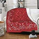 Colorful Bandanna Red Paisley Bandana Throw Blanket Micro Fleece Flannel Blankets Lightweight Super Cozy Bed Blanket fit Office Lap Suitable for All Season