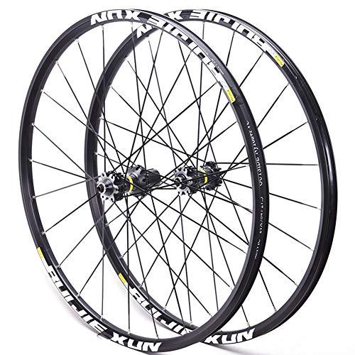 "LHLCG Mountain Bike Wheel Set Aluminum Alloy Ultralight Wheels Black Spokes Blacks Circle,BlackFlowerdrum,27.5\"""