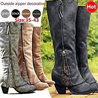 da2634af49b Amazon.com: Grey - Over-the-Knee / Boots: Clothing, Shoes & Jewelry