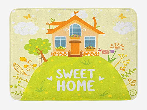 Home Sweet Home Badmat, Cartoon Stijl Cottage Hut op Groene Hilltop met Bloeiende Tuinochtend, Pluche Badkamer Decor Mat met Niet Slip Backing, 23,6 x 15,7 Inch, Multi kleuren