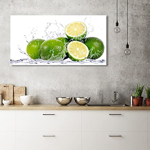 Quadri L&C ITALIA Lime – Quadro Cucina Moderna con Frutta 90 x 45 Stampa su Tela Canvas da Parete Limoni Verdi Arredamento Ristorante