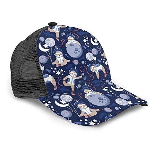 Unisex Baseball Cap Space Moon Cute Astronauten Faultier 3D Hip Hop Snapback Krempe Hut Caps Schwarz