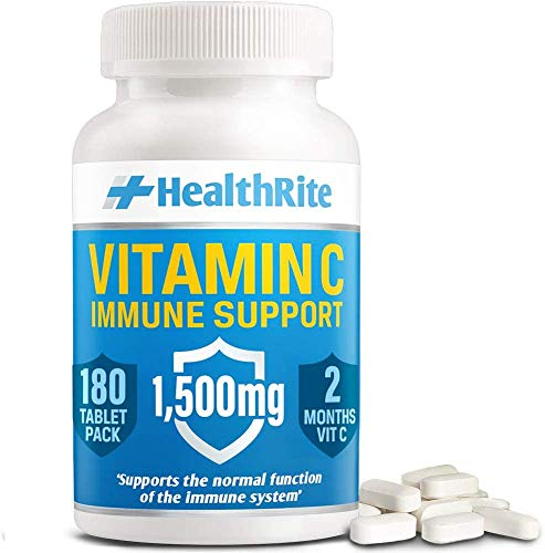 Strongest 1500mg Vitamin C Tablets More Than Vitamin C 1000mg Tablets - Immune Booster - Vegan VIT C Tablets - Made in The UK by HealthRite… (180)