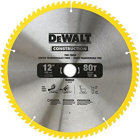 DEWALT 12-Inch Carbide 80 Tooth Miter Saw Blade