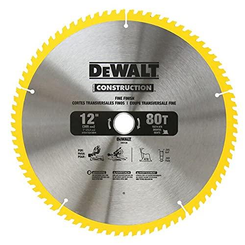 DEWALT 12-Inch Miter Saw Blade, Crosscutting, Tungsten Carbide, 80-Tooth,...