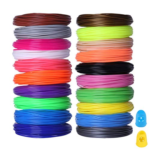 PLA 3D Pen Filament 20PCS 1.75mm 3D Printing Filament Refills PLA for 3D Printer, 3D Filament Set Assorted Multi Colors, 16.5 Feet per Color, Total 328 Feet