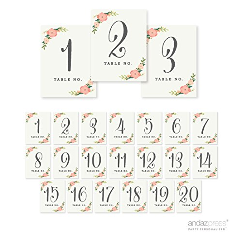 Andaz Press Table Numbers 1-20 on Perforated Paper, Floral Roses Print, 4.25 x 5.5-inch Cardstock Sign, 1-Set, for Weddings, Baptism, Sweet 16