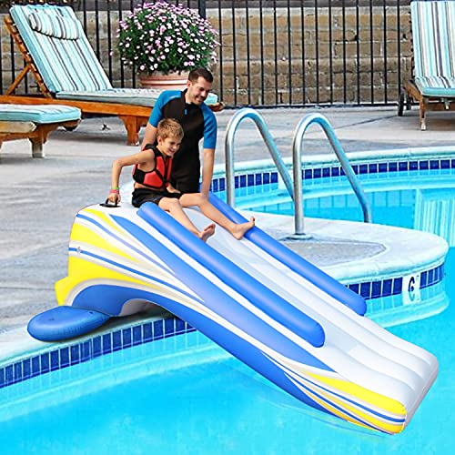 Inflatable Water Slide Dock Pool Slide Play Center Swimming Pool for Kids and Adults Water Toy for Summer Backyard
