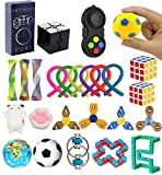 Vanely 10 Pack Sensory Fidget Toys Stress Relief Figetget Toys Include Infinity Cube,Mesh and Marble,Flippy Chains,Finger Gyro for Adults Kids ADHD ADD Anxiety Party Favors,Classroom Rewards Prizes