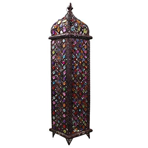 Weinlese-Mosaik befleckte Farbglas-Schlafzimmer-Esszimmer-Stehlampe, Südostasien-Metallpagode-Wohnzimmer-Kunst-Boden-Licht (Farbe : Dimming switch)