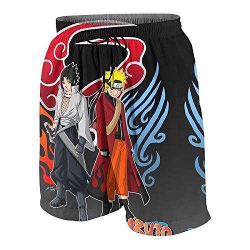 CCdesign Naruto_VS Sasuke Teen Skateboarding Graphic Print Beach Shorts with Side Pockets White