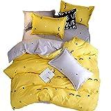BeddingWish Eyelashes Comforter Set Girls Zipper Tie Duvet Cover 3Pcs (1 Pillowcase,2 Duvet Cover) Ultra Soft Duvet Cover Set, Easy Care Yellow Kids Bedding Set Queen