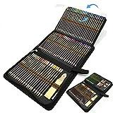96pcs Lápices de Colores para Bosquejo Material de dibujo Set,mejores lapices de colores,Incluye dibujos a lapiz, Lápices Pastel,Lápices de Grafito, Carboncillos, Caja de Cremallera Portátil