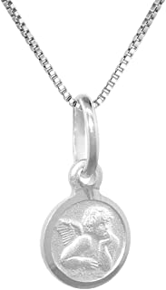 Tiny Sterling Silver Guardian Angel Medal Necklace 5/16 inch Round Italy, 16-30 inch 0.8mm_Box_Chain