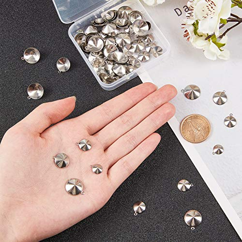 UNICRAFTALE about 120pcs 4 Sizes Cone Hypoallergenic Pendant Rhinestone Settings Stainless Steel Charms Fit for 8/10/12/14mm Rhinestone for DIY Jewelry Making Stainless Steel Color