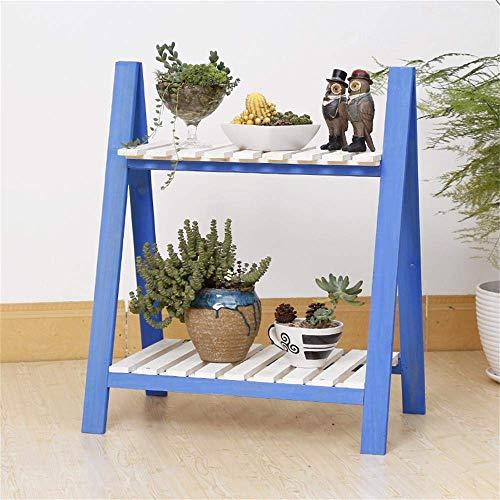 Eenvoudig dubbellaags massief houten bloemenrek meerlagige houten bloempothouder van antiek wit ladder-vouwbalkon (kleur: retro blauw) blauw