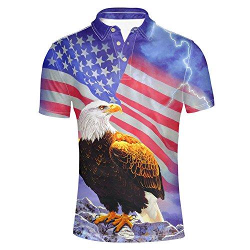 HUGS IDEA Cool Men's Polos Shirt America Flag Hawk Lightning Print T-Shirt Fashion Summer Short Sleeves