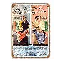 1937キャノンタオルサインメタルウォールポスターブリキサインヴィンテージバーベキューレストランカフェショップホームキッチンの装飾8x12インチ