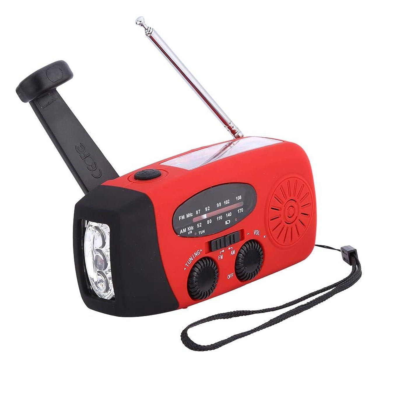 リップマサッチョ必要条件Lazmin ラジオ ソーラーラジオ 手回しラジオ 多機能 USB充電できる ライトLED懐中電灯機能 小型 軽量 持ち運び便利 緊急用 (レッド)