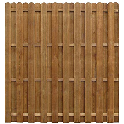 BIGTO Garden Fence Panel Hit and Miss Pine wood, brown impregnated,170x170 cm,Thickness: 3,8 cm,Rot-resistant,durable