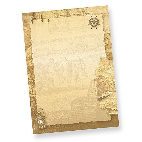 Motivpapier-Briefpapier Piraten 50 Blatt, DIN A4 90g für Einladung Schatzkarte Pirat