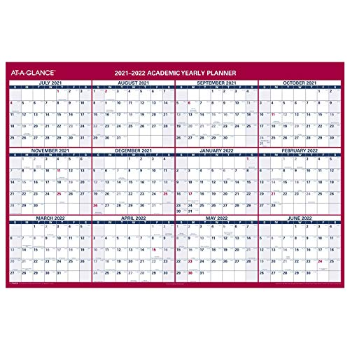 2021-2022 Erasable Calendar, Dry Erase Wall Planner by AT-A-GLANCE, 48' x 32', XLarge, Academic &...
