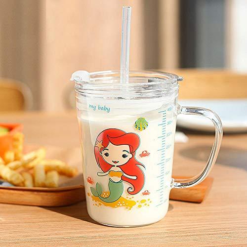 Cute Cartoon Children s Milk Glass Cups Hogar Beber Jugo Cup Transparent Water Bottle Breakfast Cup Straw Cup Kids Gifts-3_Spain