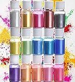 Tintes de jabón en polvo de mica, 15 colores, pintura de jabón de colores, pigmento en polvo de resina epoxi para bricolaje, esponjoso limo, jabón cosmético, velas de resina (10 g)