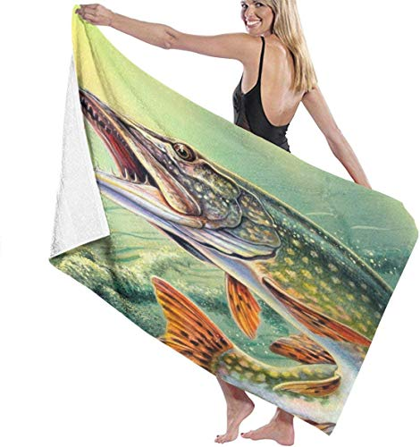 huatongxin Big Mouth Fish Under Sea Microfiber Toalla de baño Lightweight Highly Absorbent Bathroom Towel Fade-Resistant Oversized Beach Towel Soft Bath Sheets Premium for Beach Bath Travel