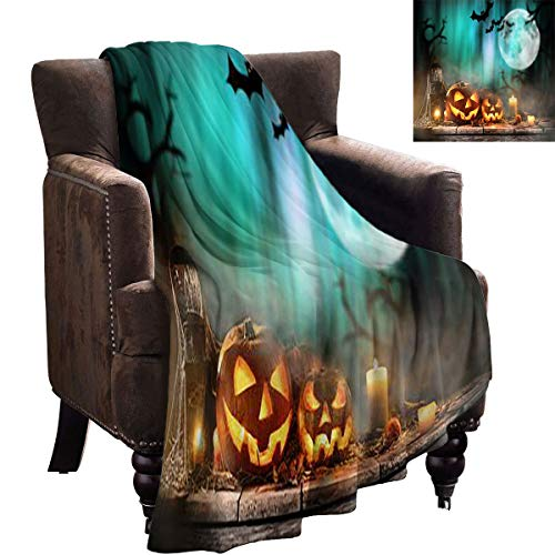 LanQiao Baby Blankets for Girls - Halloween Pumpkins on Old Wooden Table - Household Blankets are Soft 70'x50'