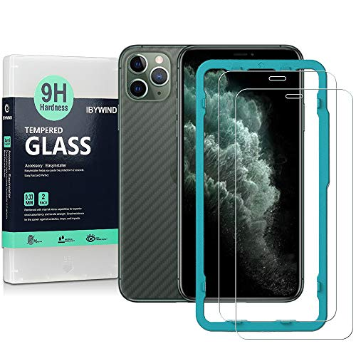 Ibywind Screen Protector for Apple iPhone 11 Pro Max/iPhone XS Max [Pack of 2] with Back Carbon Fiber Skin Protector,Including Easy Install Kit,Tempered Glass Film
