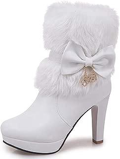 DecoStain Women's Faux Fur Bowtie&Glass Diamond Ornament High Heel Boots