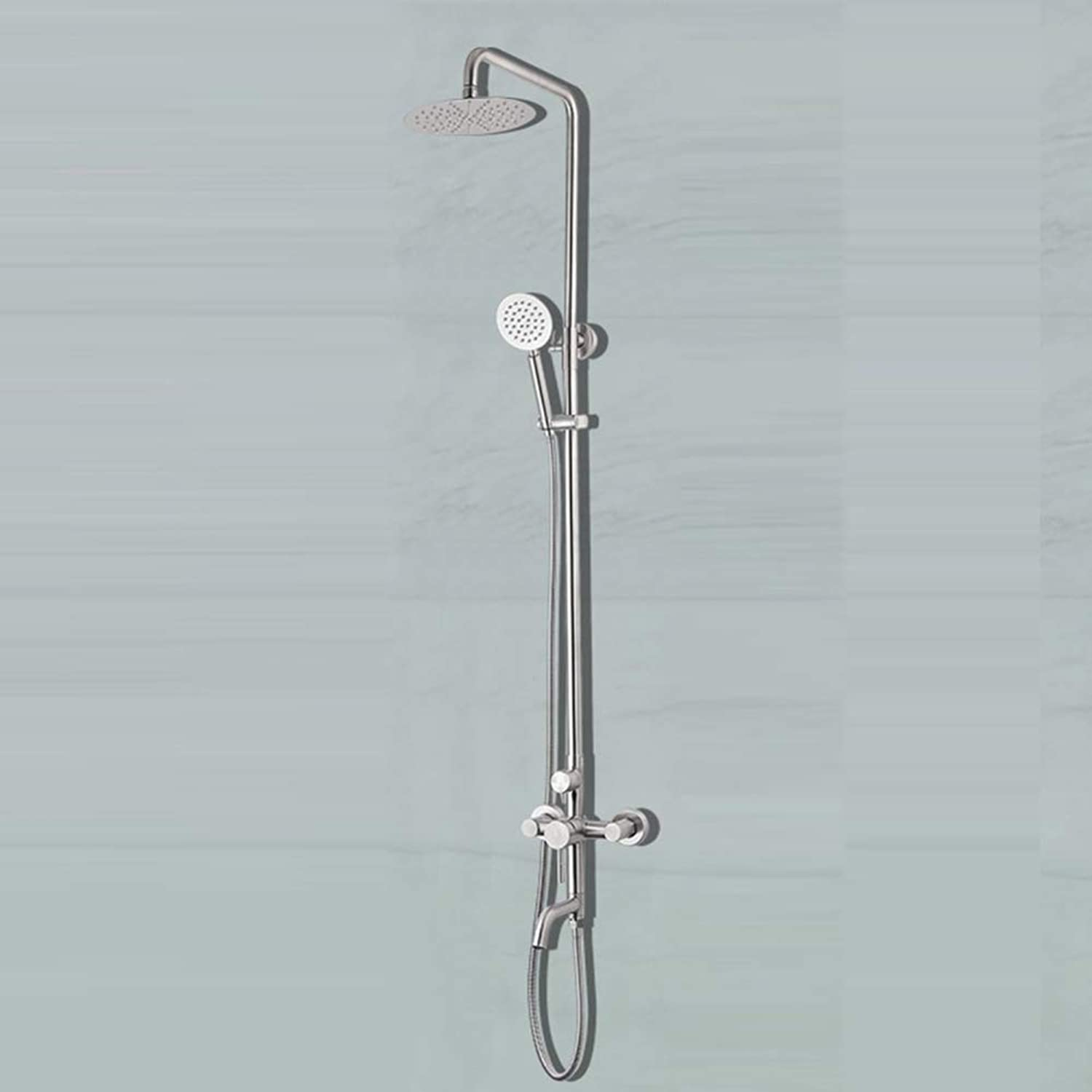 MPYStainless steel supercharged brushed shower set,Three-speed multi-function rain shower,Handheld shower