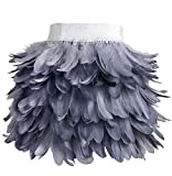 L'VOW Mujer Mini A línea Falda de Plumas Naturales para Familiar Fiesta Disfraz de Halloween (X02- Gris, S)