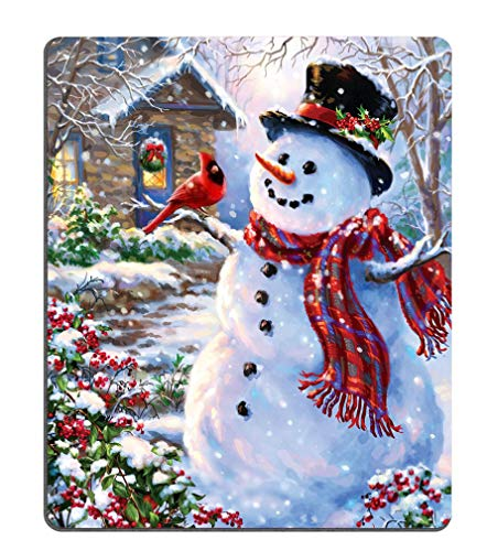 Gaming Mouse Pad Custom,Winter Holiday Merry Christmas Happy Snowman and Cardinals Mouse pad