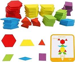 Leorealko IQ Pattern Puzzle Box, Wooden Pattern Blocks Set, Wooden Blocks Montessori Kids Toys Shapes Dissection