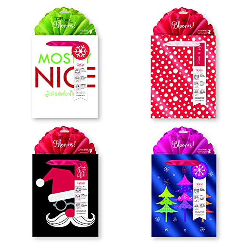 Whimsical Holiday Gift Bags, Gogo Bags, Blooming Tissue Plus Tags Set of 4 (MostlyNice)