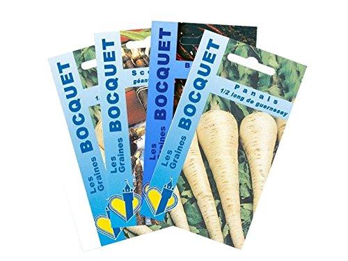 Lot de 4 sachets de Graines de Légumes Racines - Graines Potagères à semer