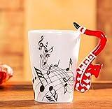 400Ml Tazza Di Musica Creativo Violino Stile Chitarra Tazza Di Ceramica Tazza Di Caffè Tazza Di Tè Per Uso Domestico Tazza Di Caffè Al Latte Con Manico Romanzo Regalo Nota Tazza Tazza D'Acqua-J-400Ml